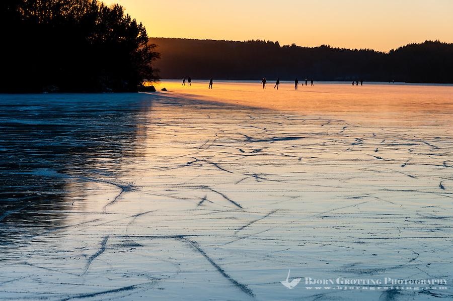 Norway, Stavanger. Winter ice on Stokkavannet.