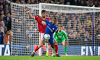 Charly Musonda of Chelsea holds off Andreas Bouhalakis of Notthingham Forest during the Carabao Cup (Football League cup) 23rd round match between Chelsea and Nottingham Forest at Stamford Bridge, London, England on 20 September 2017. Photo by Andy Rowland.