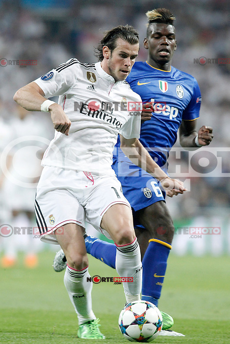 Real Madrid's Gareth Bale (l) and Juventus' Paul Pogba during Champions League 2014/2015 Semi-finals 2nd leg match.May 13,2015. (ALTERPHOTOS/Acero) /NortePhoto.COM
