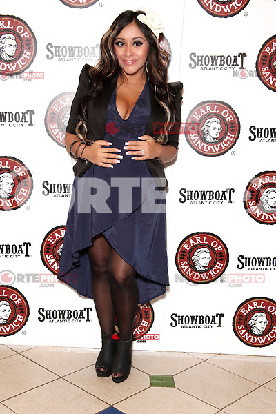 New York Times best selling author Nicole 'Snooki' Polizzi pictured at her 'Gorilla Beach' book tour at the Grand Opening of the new Earl of Sandwich location at Showboat Casino in Atlantic City, New Jersey on July 25, 2012 © Star Shooter / MediaPunch Inc. /NortePhoto.com<br />