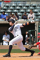 Charleston RiverDogs right fielder Aaron Judge #35 at bat during a game against the Greenville Drive at Joseph P. Riley Jr. Ballpark  on April 9, 2014 in Charleston, South Carolina. Greenville defeated Charleston 6-3. (Robert Gurganus/Four Seam Images)