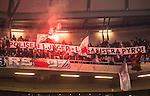 Solna 2015-10-04 Fotboll Allsvenskan AIK - Malm&ouml; FF :  <br /> Malm&ouml;s supportrar med banderoll med texten &quot; Polisen ljuger - legalisera pyro &quot; och bengaler under matchen mellan AIK och Malm&ouml; FF <br /> (Foto: Kenta J&ouml;nsson) Nyckelord:  AIK Gnaget Friends Arena Allsvenskan Malm&ouml; MFF supporter fans publik supporters