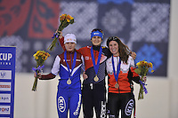 SPEED SKATING: SALT LAKE CITY: 20-11-2015, Utah Olympic Oval, ISU World Cup, Podium 5000m Ladies B-Division, Natalya Voronina (RUS), Martina Sabliková (CZE), Ivanie Blondin (CAN), ©foto Martin de Jong