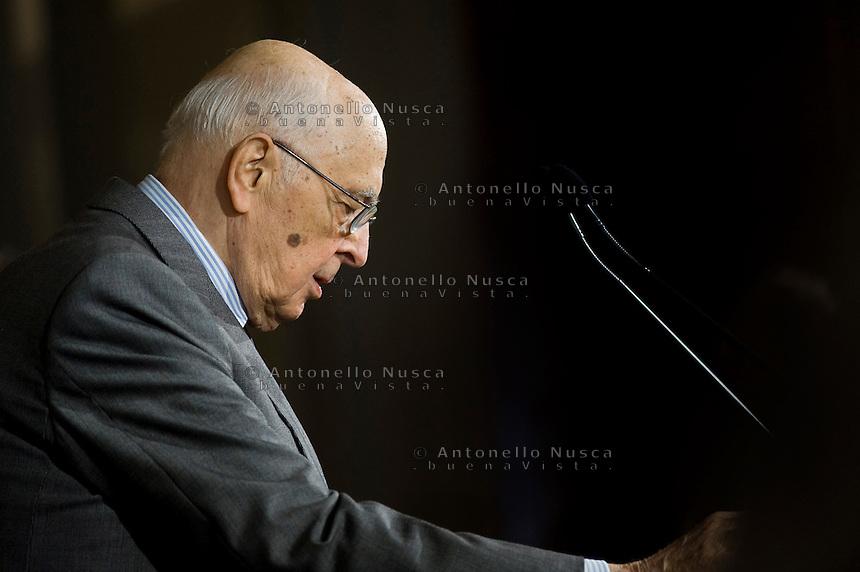 Giorgio Napolitano parla alla stampa dopo la lettura della lista dei ministriIl da parte del nuovo Presidente del Consiglio Enrico Letta al Quirinale