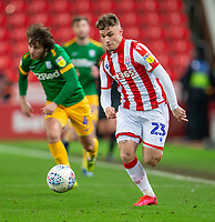 12th February 2020; Bet365 Stadium, Stoke, Staffordshire, England; English Championship Football, Stoke City versus Preston North End; Thibaud Verlinden of Stoke City chases along the wing on the ball