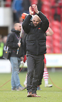 Rotherham United's Manager Paul Warne  celebrates as the game ends<br /> <br /> Photographer Mick Walker/CameraSport<br /> <br /> The EFL Sky Bet League One - Doncaster Rovers v Rotherham United - Saturday 11th November 2017 - Keepmoat Stadium - Doncaster<br /> <br /> World Copyright &copy; 2017 CameraSport. All rights reserved. 43 Linden Ave. Countesthorpe. Leicester. England. LE8 5PG - Tel: +44 (0) 116 277 4147 - admin@camerasport.com - www.camerasport.com