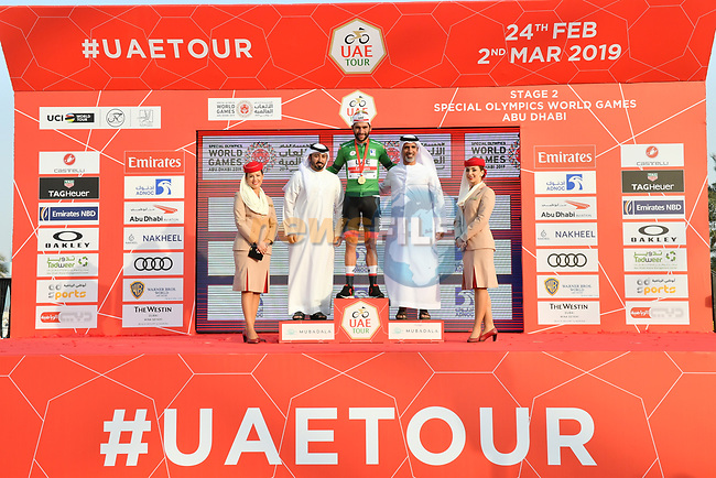 Fernando Gaviria (COL) UAE Team Emirates wins Stage 2 and takes over the points Green Jersey of the 2019 UAE Tour, running 184km form Yas Island Yas Mall to Abu Dhabi Breakwater Big Flag, Abu Dhabi, United Arab Emirates. 25th February 2019.<br /> Picture: LaPresse/Massimo Paolone | Cyclefile<br /> <br /> <br /> All photos usage must carry mandatory copyright credit (© Cyclefile | LaPresse/Massimo Paolone)