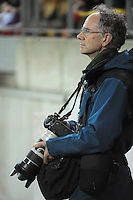 Dominion Post photographer Ross Giblin during the ANZAC Day AFL match between St Kilda Saints and Brisbane Lions at Westpac Stadium, Wellington, New Zealand on Friday, 25 April 2014. Photo: Dave Lintott / lintottphoto.co.nz