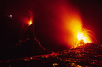 Large spattering vents and the moon and stars in the west shield area of Pu'u o'o vent, Volcanoes National Park, Hawaii, USA, Big Island of Hawaii, USA, Pacific Ocean