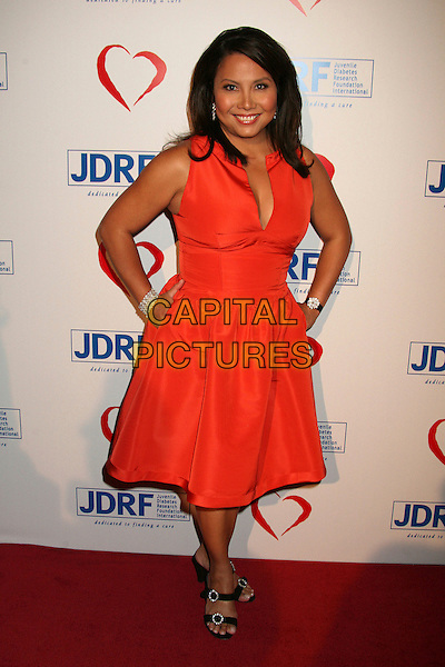 TARYN ROSE .Juvenile Diabetes Research Foundation's Annual Gala 2007 at the Beverly Hilton Hotel, Beverly Hills, California, USA..May 24th, 2007.full length red dress hands on hips sleeveless .CAP/ADM/BP.©Byron Purvis/AdMedia/Capital Pictures