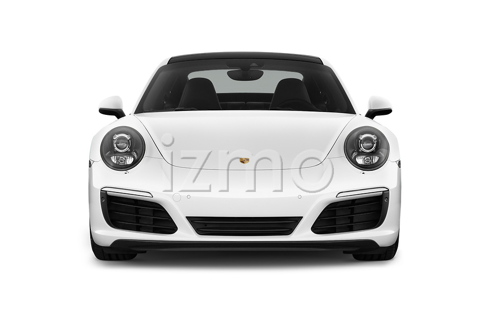 Car photography straight front view of a 2018 Porsche 911 Carrera 2 Door Coupe
