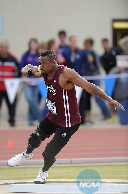 26 MAY 2012:  Paul Davis of McMurry gets ready to throw the shot put during the Division III Men's and Women's Outdoor Track and Field Championship held at Burns Stadium in Claremont, CA. Davis threw 18.55M for the national title.  Matt Brown/NCAA Photos.