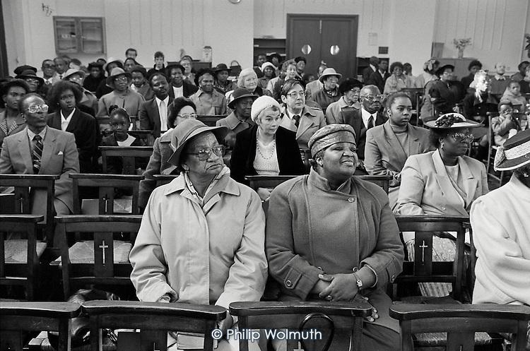 Sunday morning service in Harlesden Methodist Church, West London.