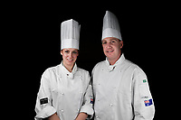 Melbourne, 30 May 2017 - Laura Skvor commis chef and Michael Cole of the Georgie Bass Cafe & Cookery in Flinders pose for a photograph at the Australian selection trials of the Bocuse d'Or culinary competition held during the Food Service Australia show at the Royal Exhibition Building in Melbourne, Australia. Photo Sydney Low