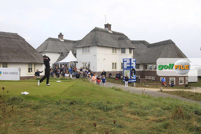 John Hahn (USA) on the 1st tee during Round 4 of the KLM Open at Kennemer Golf &amp; Country Club on Sunday 14th September 2014.<br /> Picture:  Thos Caffrey / www.golffile.ie