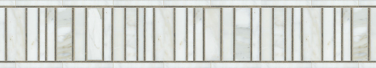 """7 3/8"""" Corridor border, a hand-cut mosaic shown in polished Calacatta Tia and honed Montevideo by New Ravenna."""