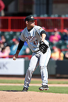 Akron RubberDucks pitcher Jordan Cooper (47) delivers a pitch during a game against the Erie SeaWolves on May 18, 2014 at Jerry Uht Park in Erie, Pennsylvania.  Akron defeated Erie 2-1.  (Mike Janes/Four Seam Images)