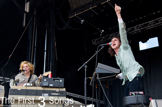 Sam France of Foxygen performs during the Forecastle Music Festival at Waterfront Park in Louisville, Kentucky.