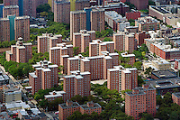 aerial photograph residential high rise buildings Harlem, Manhattan, New York City