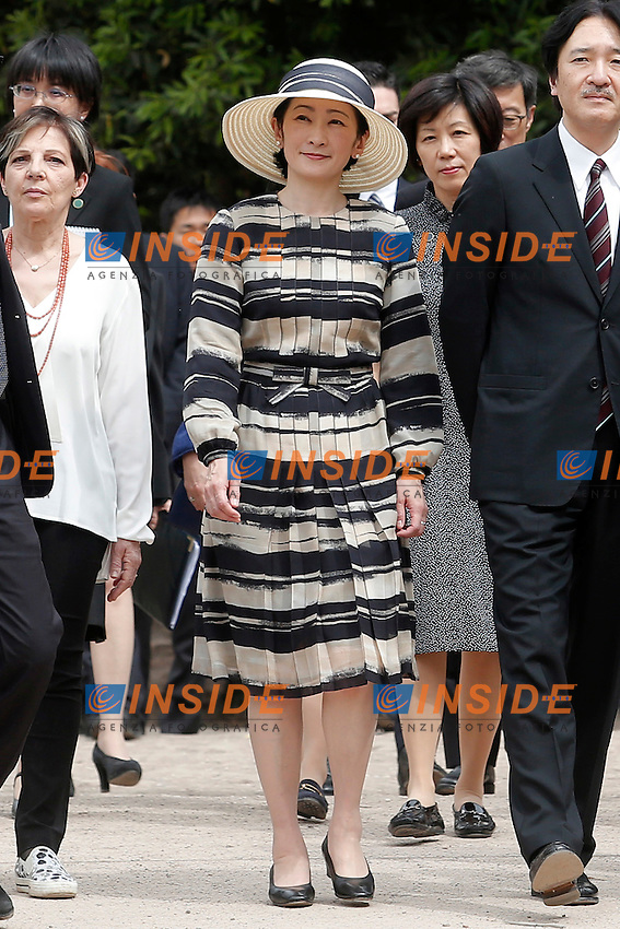 Roma 11-05-2016. Il Principe e la principessa Akishino del Giappone visitano i Fori Imperiali.<br /> Rome 11th May 2016. Prince and Princess Akishino of Japan visiting the Imperial Fora.<br /> Photo Samantha Zucchi Insidefoto