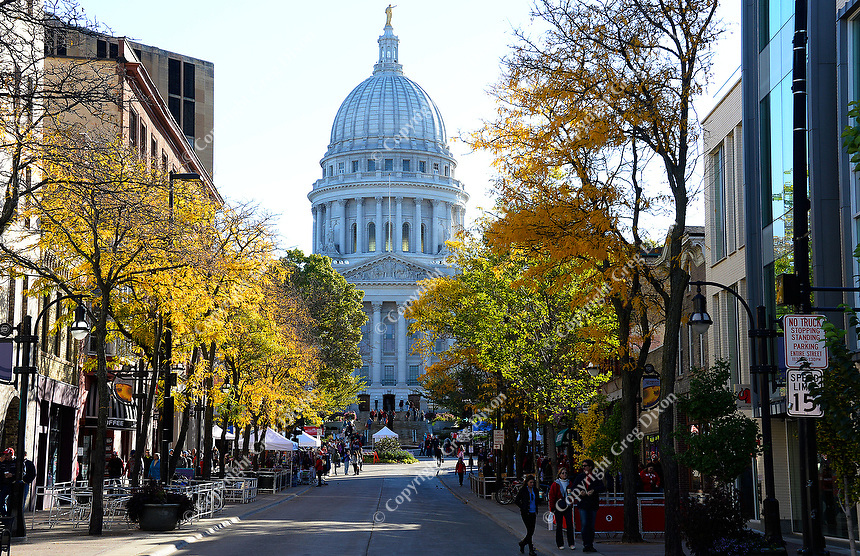 The Wisconsin State Capitol Building is seen through the autumn colors of State Street on Saturday, October 17, 2015 in Madison, Wisconsin