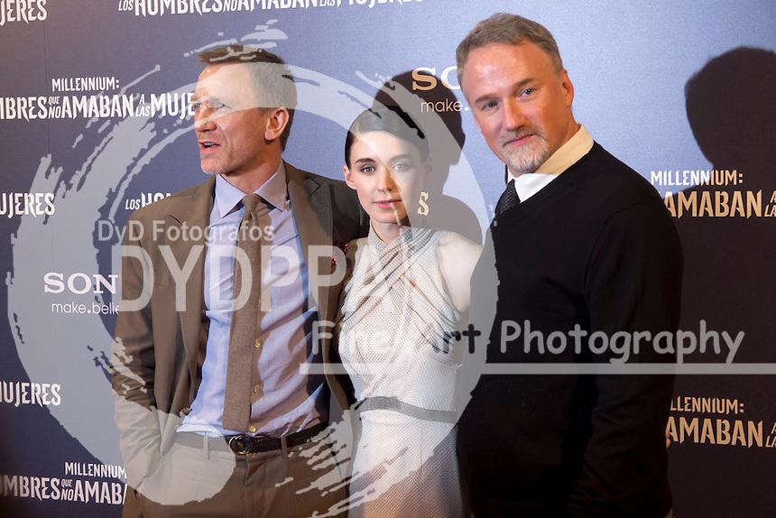 "04.01.2012. Callao Cinema.Madrid Spain. Premier of the film ""Millennium: The Men who not Loved Women"". In the image Daniel Craig, Rooney Mara and director David Fincher. (c) Marta Gonzalez / D y D Fotografos"