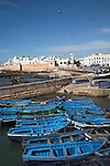 Small blue fishing boats crowded together in harbour with white medina walls in background, Essaouira, Morocco