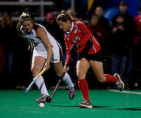 Jemma Buckley (7) of Maryland closes in on Paula Pastor-Pitarque (17) of Ohio State during the NCAA Field Hockey Championship semfinals in College Park, MD.  Maryland defeated Ohio State, 3-1.