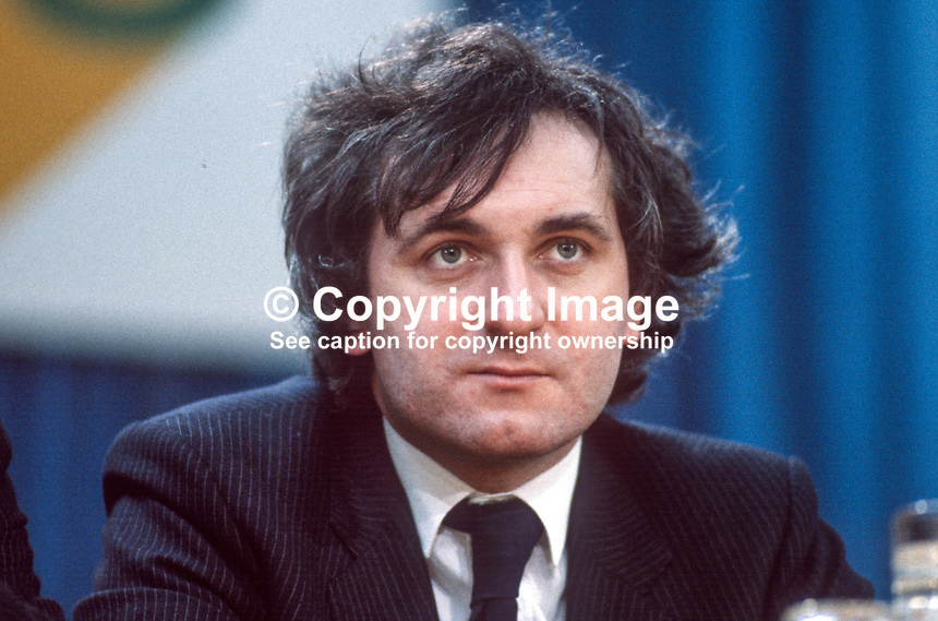 Bertie Ahern, TD, chief whip, Fianna Fail, opposition party, Rep of Ireland, photographed at April 1984 Ard Fheis i.e. party conference, 19840048BA1..Copyright Image from Victor Patterson, 54 Dorchester Park, Belfast, UK, BT9 6RJ..Tel: +44 28 9066 1296.Mob: +44 7802 353836.Voicemail +44 20 8816 7153.Skype: victorpattersonbelfast.Email: victorpatterson@me.com.Email: victorpatterson@ireland.com (back-up)..IMPORTANT: If you wish to use this image or any other of my images please go to www.victorpatterson.com and click on the Terms & Conditions. Then contact me by email or phone with the reference number(s) of the image(s) concerned.