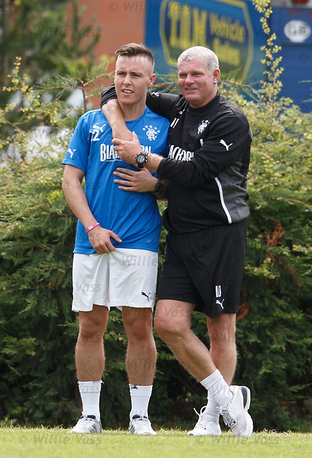 Ian Durrant gives some encouragement to Barrie McKay as the youngster continues his rehabilitation from injury