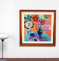 """Majoli: Still Life with Matisse, Digital print, , Framed Dims. Brown Wood, Gold, Off White Mat Dims. 29.75"""" x 29.5"""" x 1"""""""