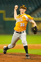 Relief pitcher Conner Stevens #35 of the Tennessee Volunteers in action against the Houston Cougars at Minute Maid Park on March 2, 2012 in Houston, Texas.  The Cougars defeated the Volunteers 7-4.  Brian Westerholt / Four Seam Images