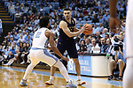 CHAPEL HILL, NC - FEBRUARY 12: Notre Dame's Matt Farrell (5) and North Carolina's Joel Berry II (2). The University of North Carolina Tar Heels hosted the University of Notre Dame Fighting Irish on February 12, 2018 at Dean E. Smith Center in Chapel Hill, NC in a Division I men's college basketball game. UNC won the game 83-66.