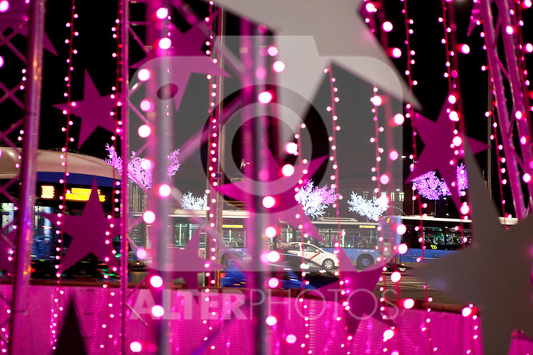 Christmas lights decoration at Atocha Renfe Square in Madrid, Spain. December 03, 2013. (ALTERPHOTOS/Victor Blanco)
