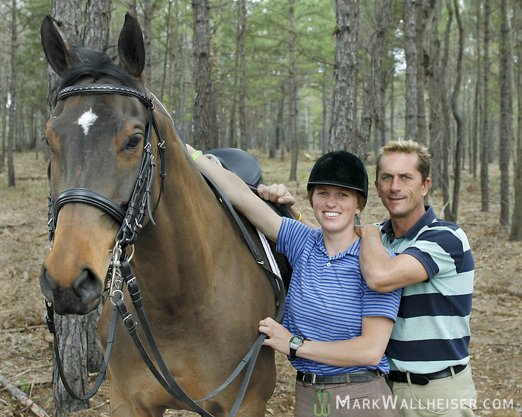 "Rick Wallace, right, and his daughter Elisa Wallace with ""Leap of Faith"" at the Red Hills Horse Trials March 9, 2006."