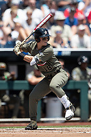 Vanderbilt Commodores outfielder Pat DeMarco (18) at bat during Game 3 of the NCAA College World Series against the Louisville Cardinals on June 16, 2019 at TD Ameritrade Park in Omaha, Nebraska. Vanderbilt defeated Louisville 3-1. (Andrew Woolley/Four Seam Images)