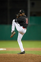 Batavia Muckdogs relief pitcher C.J. Carter (11) delivers a pitch during a game against the West Virginia Black Bears on July 2, 2018 at Dwyer Stadium in Batavia, New York.  West Virginia defeated Batavia 3-1.  (Mike Janes/Four Seam Images)