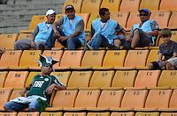 SÃO PAULO, SP, 24 DE FEVEREIRO DE 2013 - CAMPEONATO PAULISTA - PALMEIRAS x UNIÃO BARBARENSE: Torcedores do Palmeiras nas arquibancadas em uma tarde de sol muito forte antes da partida Palmeiras x União Barbarense, válida pela 9ª rodada do Campeonato Paulista de 2013, disputada no estádio do Pacaembu em São Paulo. FOTO: LEVI BIANCO - BRAZIL PHOTO PRESS.