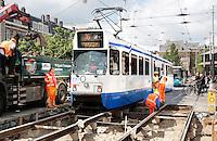 Nederland Amsterdam 2016 . Werkzaamheden aan de tramrails bij het Museumplein / Van Baerlestraat.   Foto Berlinda van Dam / Hollande Hoogte