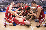 07 MAY 2016: Ohio State University teammates celebrate after defeating Brigham Young University for the National Title during the Division I Men's Volleyball Championship held at Rec Hall on the Penn State University campus in University Park, PA.  Ohio State defeated BYU 3-1 for the national title.  Ben Solomon/NCAA Photos