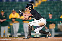 Pittsburgh Panthers first baseman Caleb Parry (6) squares to bunt during a game against the Siena Saints on February 24, 2017 at Historic Dodgertown in Vero Beach, Florida.  Pittsburgh defeated Siena 8-2.  (Mike Janes/Four Seam Images)