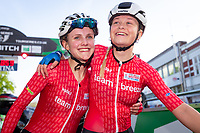 Picture by Alex Whitehead/SWpix.com - 10/05/2018 - Cycling - OVO Energy Tour Series Women's Race - Round 1: Redditch - Megan Barker of Team Breeze (L) celebrates the win with Ellie Dickinson (R).