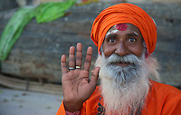 A Sadhu at the banks of the river Ganges Varanasi India
