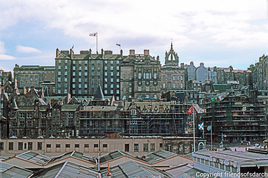 Edinburgh: Looking due South to Old City across Roof of Waverly Railway Station. Photo '87.