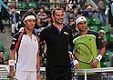 (L to R) Kei Nishikori (JPN), Koji Murofushi (JPN), David Ferrer (ESP), OCTOBER 4, 2011 - Tennis : Men's Singles at Rakuten Japan Open Tennis Championships in Tokyo, Japan. (Photo by Atsushi Tomura/AFLO SPORT) [1035]
