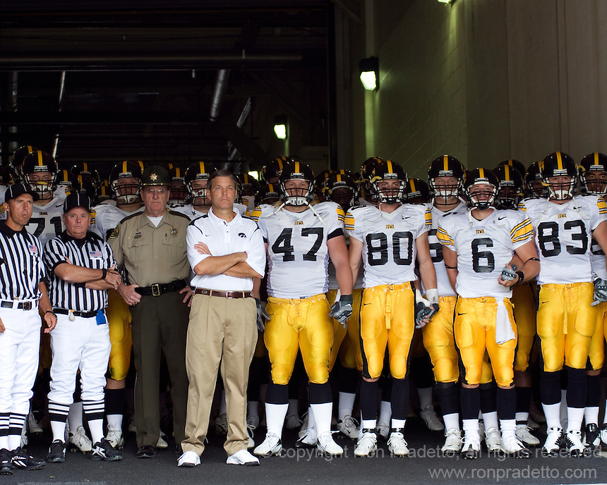 September 20, 2008: Iowa head coach Kirk Ferentz gets ready to lead his team onto the field. The Pitt Panthers defeated the Iowa Hawkeyes 21-20 on September 20, 2008 at Heinz Field, Pittsburgh, Pennsylvania.