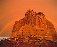 Double Rainbow over Courthouse Tower, Arches National Park, Utah