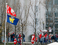Flags fly outside before the NCAA football game against Michigan at Ohio Stadium on Saturday, November 29, 2014. (Columbus Dispatch photo by Jonathan Quilter)