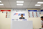 July 10, 2016, Tokyo, Japan - Wry-faced Katsuya Okada, leader of Japans main opposition Democratic Party, comments on the early returns of Sundays upper house election during an interview with a Japanese TV station at the party headquarters in Tokyo on July 10, 2016. The Democrats linked up with three smaller parties including the Japanese Communist Party but failed to gain seats and block the pro-constitutional revision camp from getting a super majority as Prime Minister Shinzo Abes ruling coalition won a landslide victory. (Photo by Natsuki Sakai/AFLO) AYF -mis-