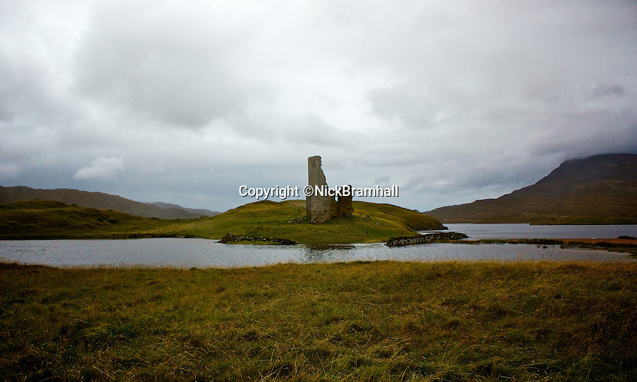 BNPS.co.uk (01202 558833)Pic: NickBramhall/BNPS<br /> Ardvreck Castle located in the North Scottish Highlands.<br /> <br /> The hidden locations of hundreds of historic ruins and forgotten relics have been revealed in the first ever guide to Britain's crumbling past.<br /> <br /> Author Dave Hamilton has spent more than three years travelling the length and breadth of the country chronicling little-known and hard-to-find remains of abandoned castles, churches, settlements and industrial works.<br /> <br /> His new book, Wild Ruins, lifts the lid on more than 250 haunting sites nationwide in a bid to reconnect people with the country's history.